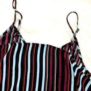 Halogen Tops - Black & Burgundy Vertical Stripe V Neck Cami